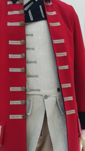 Details: Captain Jack Randall (British military uniform with red wool frock coat and linen waistcoat)
