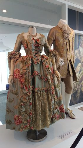 Louise de Rohan (Pistachio silk embroidered gown, gold lace trim) and King Louis XV (Gold Embroidred Suite)