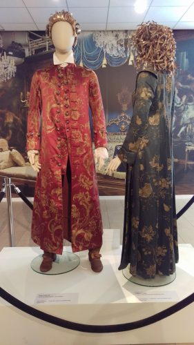 Dressing Robes: King Louis XV (Hand-painted maroon silk banyan) and Claire Fraser (Hand-painted blue silk)