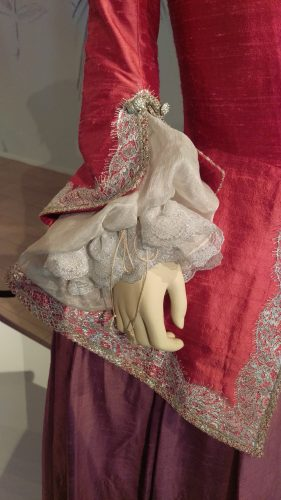Sleeve Details: Annalise de Marillac (Pink silk casaquain with silver and lavender silk skirt)
