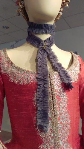 Details: Annalise de Marillac (Pink silk casaquain with silver and lavender silk skirt)