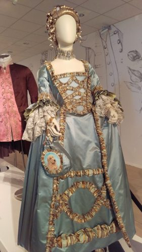 Louise de Rohan (Robin's egg blue silk with striped silk trim furbelows and antique lace engageantes)