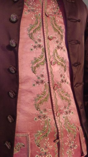 Details: Comte St. Germain (Brown silk suit with pink silk embroidered waistcoat)