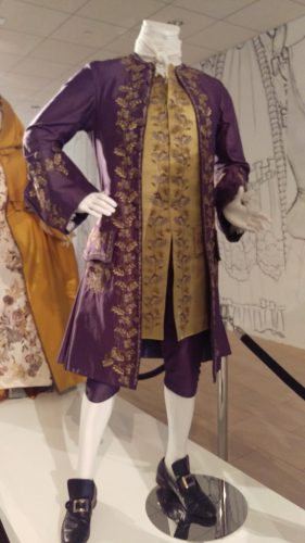 Comte St. Germain (Purple embroidered silk suit with chartreuse waistcoat)