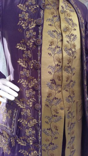 Details: Comte St. Germain (Purple embroidered silk suit with chartreuse waistcoat)