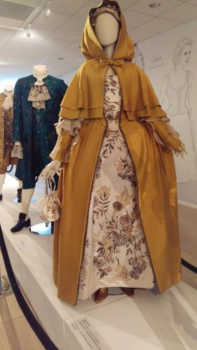 Claire Fraser (Saffron silk gown and cape with organza engageantes and hand painted stomacher and skirt)