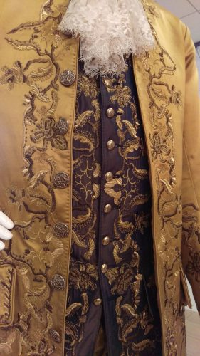 Details: Comte St. Germain (Gold embroidered silk suit with purple waistcoat)