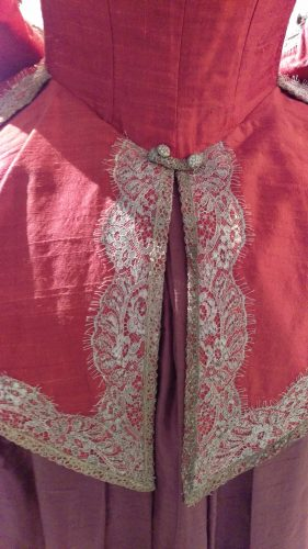Back Details: Annalise de Marillac (Pink silk casaquain with silver and lavender silk skirt)