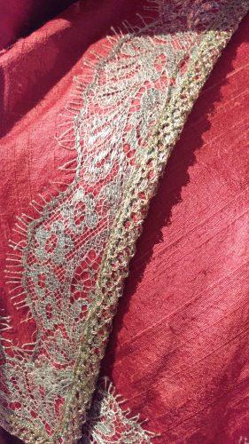 Detailing: Annalise de Marillac (Pink silk casaquain)