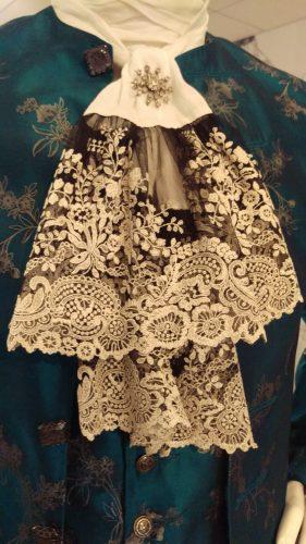 Lace Cravat Details: Comte St. Germain (Turquoise hand-painted silk suit)