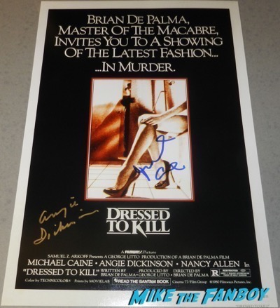 michael caine angie dickinson signed autograph dressed to kill poster