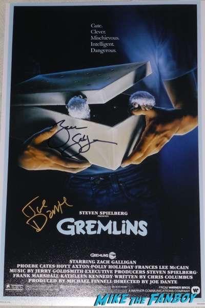 Gremlins signed autograph poster zach galligan joe dante