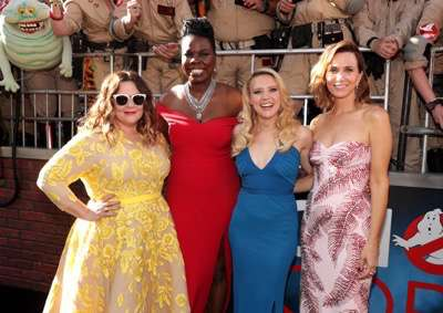 "Los Angeles, CA - Saturday, July 9, 2016: Melissa McCarthy, Leslie Jones, Kate McKinnon, and Kristen Wiig are seen at the Los Angeles Premiere of Columbia Pictures' ""Ghostbusters"" at TCL Chinese Theatre on Saturday, July 9, 2016, in Los Angeles. (Photo by Eric Charbonneau/Invision for Sony/AP Images)"