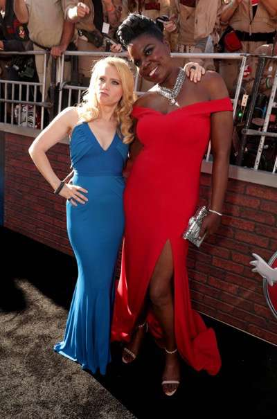 "Los Angeles, CA - Saturday, July 9, 2016: Kate McKinnon and Leslie Jones are seen at the Los Angeles Premiere of Columbia Pictures' ""Ghostbusters"" at TCL Chinese Theatre on Saturday, July 9, 2016, in Los Angeles. (Photo by Eric Charbonneau/Invision for Sony/AP Images)"