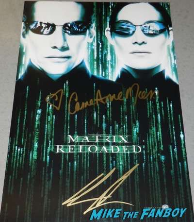 The Matrix Reloaded poster signed autograph keanu reeves carrie anne moss psa