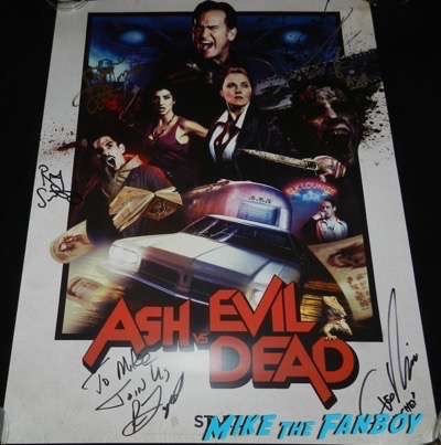 Ash Vs Evil Dead signed autograph sdcc 2016 poster bruce campbell Ray Santiago