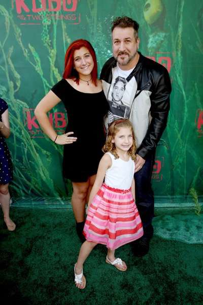 """Briahna Joely Fatone, Kloey Alexandra Fatone and Joey Fatone seen at Focus Features Los Angeles Premiere of LAIKA """"Kubo and The Two Strings"""" on Sunday, Aug. 14, 2016, in Universal City, Calif. (Photo by Blair Raughley/Invision for Focus Features/AP Images)"""
