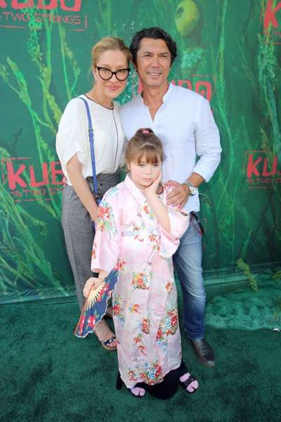 """Yvonne Boismier Phillips, Indigo Sanara Phillips and Lou Diamond Phillips seen at Focus Features Los Angeles Premiere of LAIKA """"Kubo and The Two Strings"""" on Sunday, Aug. 14, 2016, in Universal City, Calif. (Photo by Blair Raughley/Invision for Focus Features/AP Images)"""