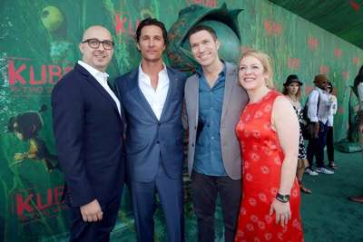"""Peter Kujawski, Chairman of Focus Features, Director/Producer Travis Knight, Producer Arianne Sutner and Matthew McConaughey seen at Focus Features Los Angeles Premiere of LAIKA """"Kubo and The Two Strings"""" on Sunday, Aug. 14, 2016, in Universal City, Calif. (Photo by Blair Raughley/Invision for Focus Features/AP Images)"""