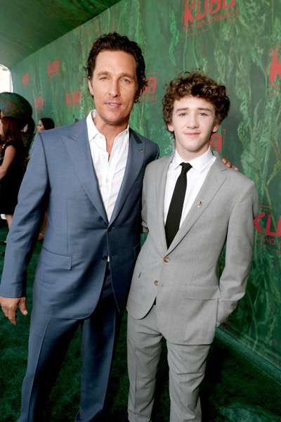 """Matthew McConaughey and Art Parkinson seen at Focus Features Los Angeles Premiere of LAIKA """"Kubo and The Two Strings"""" on Sunday, Aug. 14, 2016, in Universal City, Calif. (Photo by Eric Charbonneau/Invision for Focus Features/AP Images)"""