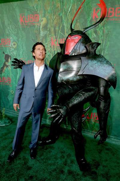 """Matthew McConaughey and Beetle seen at Focus Features Los Angeles Premiere of LAIKA """"Kubo and The Two Strings"""" on Sunday, Aug. 14, 2016, in Universal City, Calif. (Photo by Eric Charbonneau/Invision for Focus Features/AP Images)"""