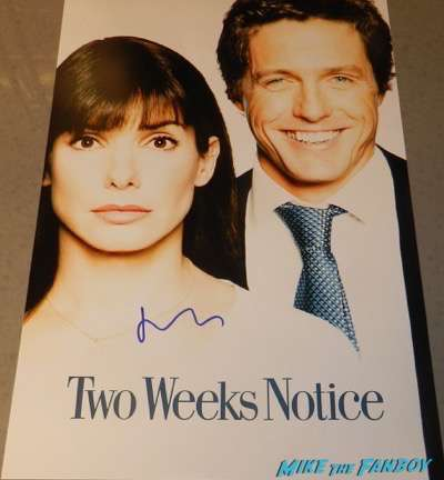 Hugh Grant signed autograph two weeks notice poster