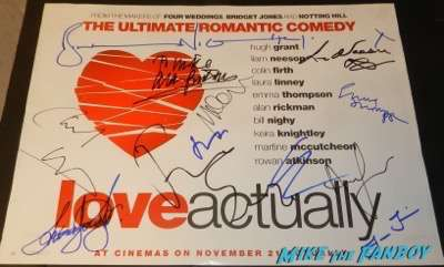 Hugh Grant signed autograph love actually cast poster