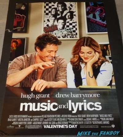 Hugh Grant signed autograph music and lyrics poster