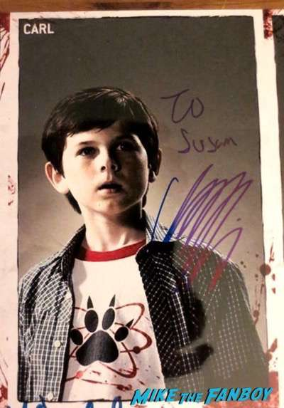 The Walking Dead cast signed autograph poster chandler riggs PSA