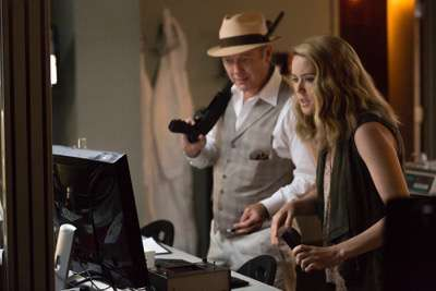 "THE BLACKLIST -- ""Eli Matchett"" Episode 303 -- Pictured: (l-r) James Spader as Red Reddington, Megan Boone as Liz Keen -- (Photo by: Christopher Saunders/NBC)"