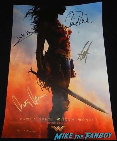 Wonder Woman signed autograph movie poster 2017 comic con chris pine gal gadot