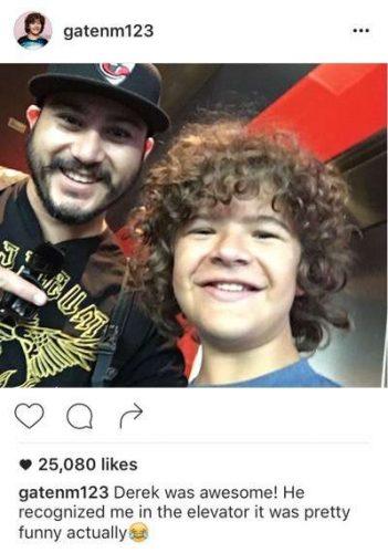 Gaten Matarazzo instagram fan photo with fans selfie