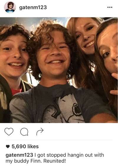 Gaten Matarazzo instagram fan photo with fans selfie