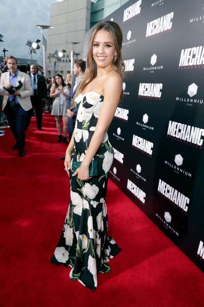 """Jessica Alba seen at Los Angeles Premiere of """"Mechanic: Resurrection"""" from Lionsgate's Summit Premiere Label at ArcLight Hollywood on Monday, Aug. 22, 2016, in Los Angeles. (Photo by Eric Charbonneau/Invision for Lionsgate/AP Images)"""