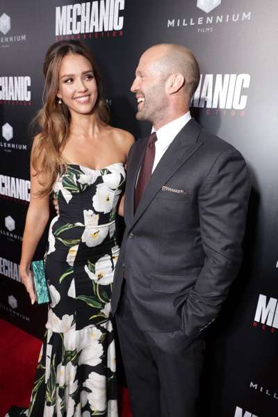 "Jessica Alba and Jason Statham seen at Los Angeles Premiere of ""Mechanic: Resurrection"" from Lionsgate's Summit Premiere Label at ArcLight Hollywood on Monday, Aug. 22, 2016, in Los Angeles. (Photo by Eric Charbonneau/Invision for Lionsgate/AP Images)"