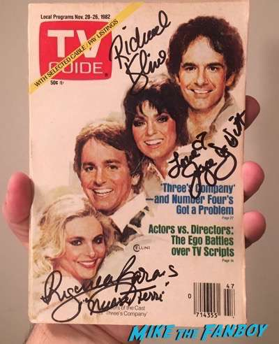 Three's Company signed autograph vintage TV Guide rare joyce dewitt richard kline