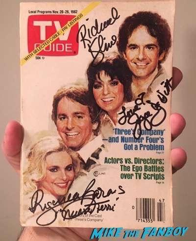 Three's Company signed autograph vintage TV Guide rare joyce dewitt richard kline