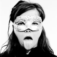 bjork sticking her tounge out at fans