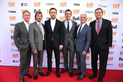 """Jon Feltheimer, Chief Executive Officer of Lionsgate, Patrick Wachsberger, Co-Chairman of Lionsgate Motion Picture Group, Ryan Gosling, Erik Feig, Co-President of Lionsgate Motion Picture Group, Rob Friedman, Co-Chairman of Lionsgate Motion Picture Group, and Michael Burns, Vice President of Lionsgate, seen at Summit Entertainment's """"La La Land"""" premiere at the 2016 Toronto International Film Festival on Monday, Sept. 12, 2016, in Toronto. (Photo by Eric Charbonneau/Invision for LionsgateAP Images)"""