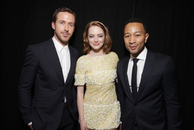 "Ryan Gosling, Emma Stone and John Legend seen at Summit Entertainment's ""La La Land"" premiere at the 2016 Toronto International Film Festival on Monday, Sept. 12, 2016, in Toronto. (Photo by Eric Charbonneau/Invision for LionsgateAP Images)"