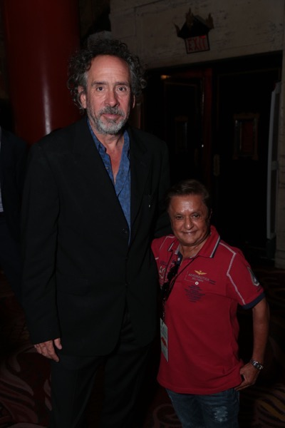 "Tim Burton poses with Deep Roy at Tim Burton's Hand & Footprint Ceremony presented by 20th Century Fox in celebration of his newest film ""Miss Peregrine's Home for Peculiar Children"" at the TCL Chinese Theatre in Los Angeles, CA on September 8, 2016. (Photo: Alex J. Berliner/ABImages)"