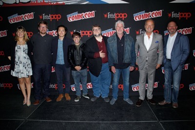 NEW YORK, NY - OCTOBER 08:  (L-R) Laura Prudom, Rodrigo Blaas, Steven Yeun, Charlie Saxton, Guillermo del Toro, Ron Perlman, Kelsey Grammer and Marc Guggenheim  pose for a photo backstage as Netflix presents Dreamworks Trollhunters during New York Comic Con at Madison Square Garden on October 8, 2016 in New York City.  (Photo by Lars Niki/Getty Images for Netflix) *** Local Caption *** Laura Prudom, Rodrigo Blaas;Steven Yeun;Charlie Saxton;Guillermo del Toro;Ron Perlman;Kelsey Grammer;Marc Guggenheim