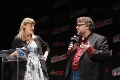 NEW YORK, NY - OCTOBER 08:  Moderator Laura Prudom and creator and executive producer Guillermo del Toro speak onstage as Netflix presents Dreamworks Trollhunters during New York Comic Con at Madison Square Garden on October 8, 2016 in New York City.  (Photo by Lars Niki/Getty Images for Netflix) *** Local Caption *** Laura Prudom;Guillermo del Toro