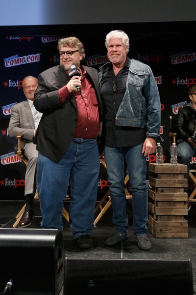 NEW YORK, NY - OCTOBER 08:  Creator and executive producer Guillermo del Toro and actor actor Ron Perlman speak onstage as Netflix presents Dreamworks Trollhunters during New York Comic Con at Madison Square Garden on October 8, 2016 in New York City.  (Photo by Lars Niki/Getty Images for Netflix) *** Local Caption *** Guillermo del Toro;Ron Perlman