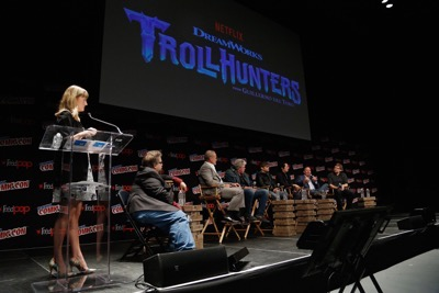 NEW YORK, NY - OCTOBER 08:  (L-R) Laura Prudom, Guillermo del Toro, Kelsey Grammer, Ron Perlman, Charlie Saxton, Steven Yeun, Marc Guggenheim and  Rodrigo Blaas speak onstage as Netflix presents Dreamworks Trollhunters during New York Comic Con at Madison Square Garden on October 8, 2016 in New York City.  (Photo by Lars Niki/Getty Images for Netflix) *** Local Caption *** Laura Prudom, Guillermo del Toro, Kelsey Grammer, Ron Perlman, Charlie Saxton, Steven Yeun, Marc Guggenheim, Rodrigo Blaas