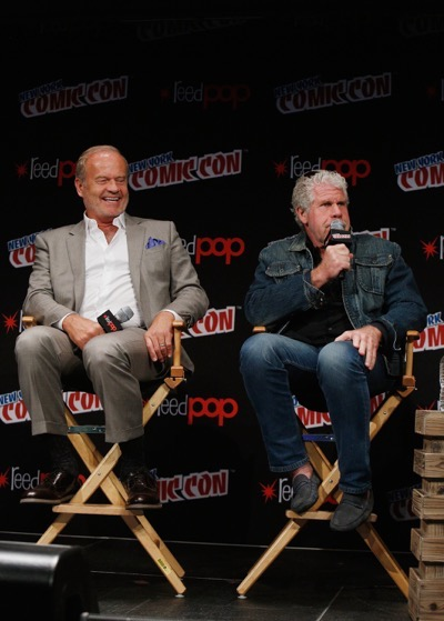 NEW YORK, NY - OCTOBER 08:  Actors Kelsey Grammer and Ron Perlman speak onstage as Netflix presents Dreamworks Trollhunters during New York Comic Con at Madison Square Garden on October 8, 2016 in New York City.  (Photo by Lars Niki/Getty Images for Netflix) *** Local Caption *** Kelsey Grammer;Ron Perlman