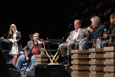 NEW YORK, NY - OCTOBER 08: (L-R) Laura Prudom, Guillermo del Toro, Kelsey Grammer, Ron Perlman and Charlie Saxton speak onstage as Netflix presents Dreamworks Trollhunters during New York Comic Con at Madison Square Garden on October 8, 2016 in New York City.  (Photo by Lars Niki/Getty Images for Netflix) *** Local Caption *** Laura Prudom, Guillermo del Toro, Kelsey Grammer, Ron Perlman;Charlie Saxton