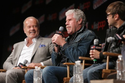 NEW YORK, NY - OCTOBER 08:  Actors Kelsey Grammer, Ron Perlman and Charlie Saxton speak onstage as Netflix presents Dreamworks Trollhunters during New York Comic Con at Madison Square Garden on October 8, 2016 in New York City.  (Photo by Lars Niki/Getty Images for Netflix) *** Local Caption *** Kelsey Grammer;Ron Perlman;Charlie Saxton