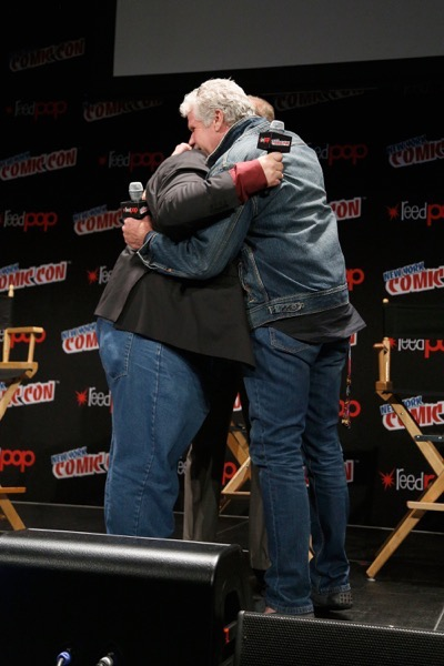NEW YORK, NY - OCTOBER 08: Creator and executive producer Guillermo del Toro and actor Ron Perlman embrace onstage as Netflix presents Dreamworks Trollhunters during New York Comic Con at Madison Square Garden on October 8, 2016 in New York City.  (Photo by Lars Niki/Getty Images for Netflix) *** Local Caption *** Guillermo del Toro;Ron Perlman