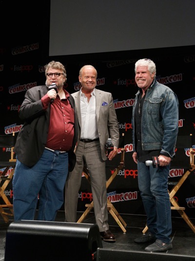 NEW YORK, NY - OCTOBER 08:  (L-R) Creator and executive producer Guillermo del Toro, actors Kelsey Grammer and Ron Perlman speak onstage as Netflix presents Dreamworks Trollhunters during New York Comic Con at Madison Square Garden on October 8, 2016 in New York City.  (Photo by Lars Niki/Getty Images for Netflix) *** Local Caption *** Guillermo del Toro;Kelsey Grammer;Ron Perlman